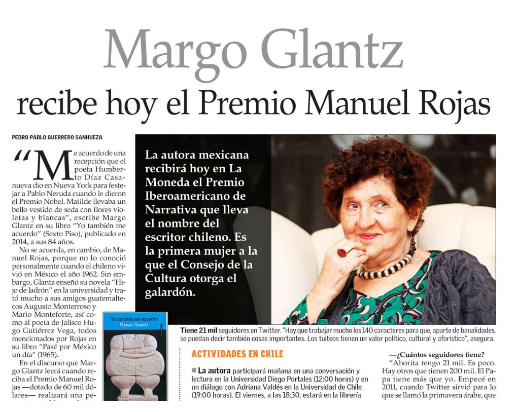 Margo Glantz recibe Premio